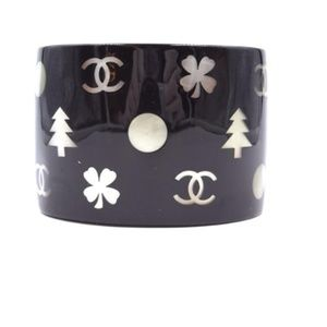 Chanel Jewelry - Black with Mother Of Pearl  Rare Bangle Bracelet